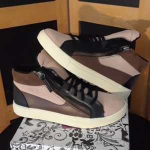 """TAKE 1/2 OFF BRASH Suede&Leather """"CLEO"""" COLORBLOCK"""